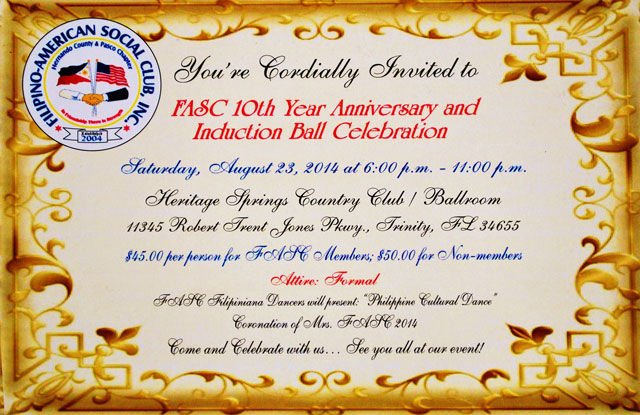 FASC 10th Year Anniversay and Induction Ball @ Heritage Springs Country Club Ballroom