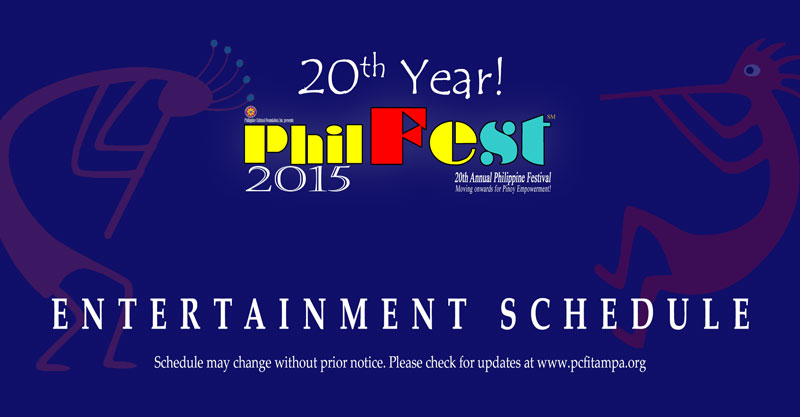 PhilFest 2015 Entertainment Schedule